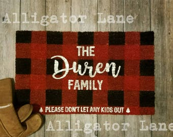 Buffalo Plaid Custom Door Mat Personalized Doormat Red Black Plaid Last Name Door Mat Funny Saying Christmas Please don't let any kids out