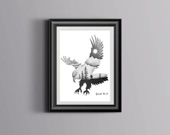 Isaiah 40:31 Bible Verse Print | Those who hope in the Lord | Hand Drawn | Christian Wall Art | Eagle | Dotwork | Gift | Double Exposure