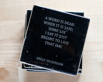 EMILY DICKINSON Quotes Coaster Set (4 Stone Coasters, Black and White) Poetry Home Decor