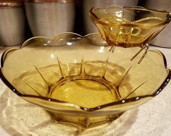 Vintage Anchor Hocking Honey Gold Chip & Dip Set - Free Shipping