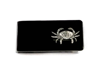 Antique Silver Crab Money Clip Inlaid in Hand Painted Glossy Enamel Cancer Zodiac Sign with Personalized and Color Options