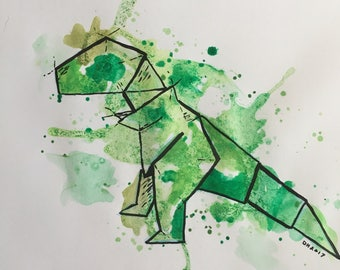 Watercolor origami T-Rex painting