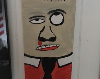 "Adam Fish Original Painting on Canvas 12X6 ""Nose Bleed"""