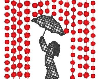 Girl with Umbrella 4x4 2 versions