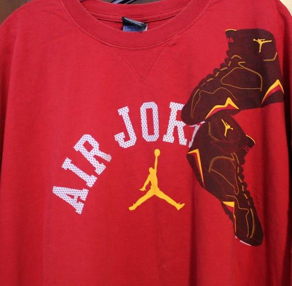 Vintage 1990s Air Jordan Shirt, Red Athletic Tennis Shoe Shoulder, Basketball Shoes T Shirt Sz XXL (2X)