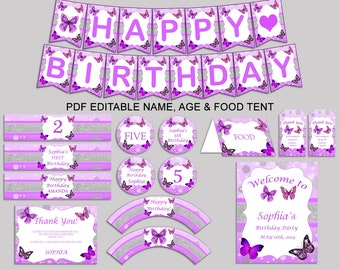 Butterfly Birthday Decor Butterfly Editable Pack Purple White Party Decoration Butterfly Birthday Decoration Girl butterflies theme OHI62