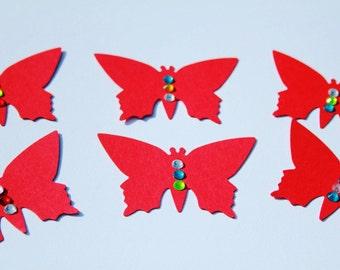 Red Peals' Butterflies Die Cut/ Paper Butterflies/ Red confetti/BUTTERFLIES for scrapbooking/ Party décor/ Baby Shower Confetti/Event décor/