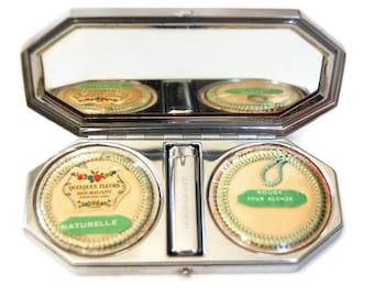 Houbigant Art Deco Compact ORIGINAL CONDITION Vintage Cosmetics Rouge, Powder & Lipstick 1930s Mirror Compact Made in France