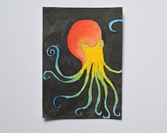 Original ACEO ATC: Colourful Octopus, mixed media.