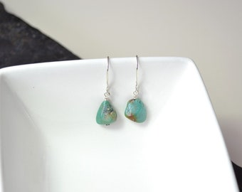 Green Turquoise Earrings, Nugget Gemstone Earrings, Natural Turquoise, Stabilized Turquoise