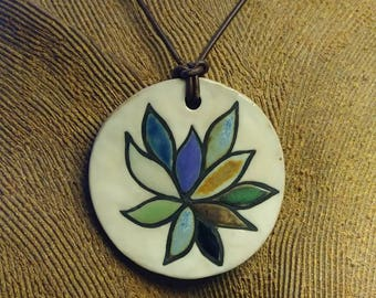Hand Painted Succulent Flower Ceramic Pendant with Mad Tiger on Reverse