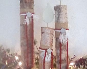 Holiday Birch bough candles