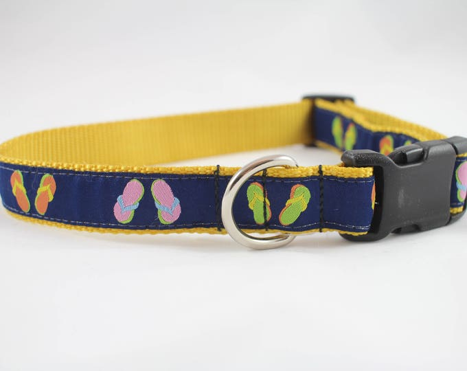 beachy collar, flip flop dog collar, summer collar, navy collar, dog collar, pet gift, dog accessory, woven jacquard collar