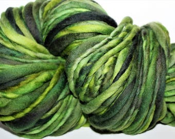 Handspun Merino wool yarn. Single ply. Bulky weight.  1/2lb Skein. 100 yards. Knit. Crochet. Felt.