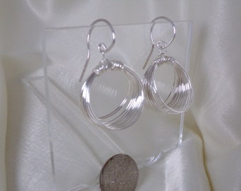 Pure 99.9% silver hoop earrings larger handmade item 926