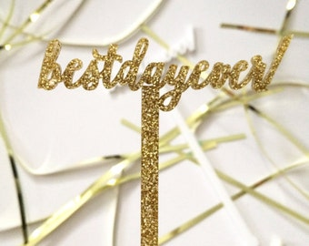 Best Day Ever Drink Stirrers,Stir Sticks,Swizzle sticks,Perfect Weddings,Bridal Shower, Engagement Party,Cocktails,Gold Glitter,Acrylic 50Pk