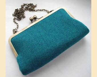 Harris Tweed clutch, Harris Tweed purse, tweed clutch bag, tweed shoulder bag, teal, turquoise, herringbone tweed