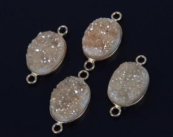 12x16mm Oval Druzy Connectors,Natural Champagne Titanium Agate Druzy Gems Slab Pendants,Plated Gold Raw Drusy Quartz Link Necklace Supplies