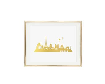 Paris Skyline Gold Foil Print- Real Gold Foil, Fashion Print, Print of Paris, Paris Skyline Print, Paris Print, Wall Art, City Skyline