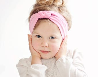 Headband, Celtic Knot Headband, Headbands, Baby Headbands, Turban Headband, Top Knot, Head Wrap, Infant Headband, Baby Gift - Solid Pink