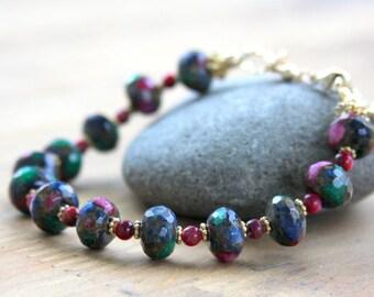 Ruby Zoisite bracelet, gemstone and gold filled, gemstone bracelet, gold filled, blue, green, ruby, stone bracelet, everyday jewlery