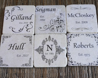 Personalized Tumbled Marble Coasters - Set of 4