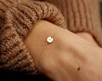 Personalized Gift - Super Dainty Initial Bracelet, Tiny Disk Bracelet - 14k Gold Fill, Sterling Silver or Rose Gold - Handmade Gift - LB206