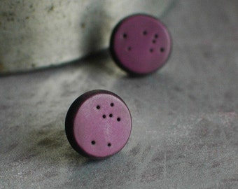 Artisan studs, wearable art, clay sculptural jewelry, Starry Night in Fig
