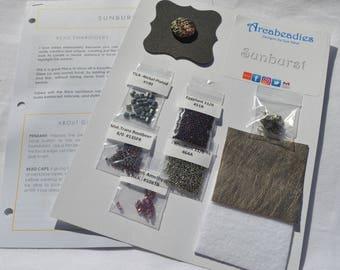 BEADWORK KIT: Sunburst Bead Embroidery Necklace (Purple/Rhodium)