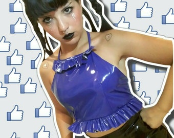 Handmade Pvc Frill Halter Crop Top size XS - S - M - L - XL Available In Silver/ Acid Green/ Electric Blue/ Black/ White/Pink