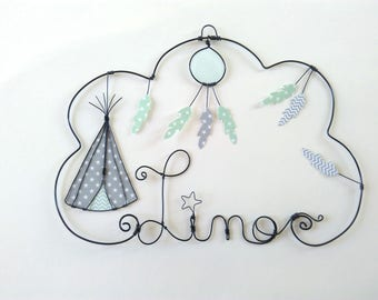 """Name wire customizable """"Tipi and catches dreams"""" nursery wall decor"""