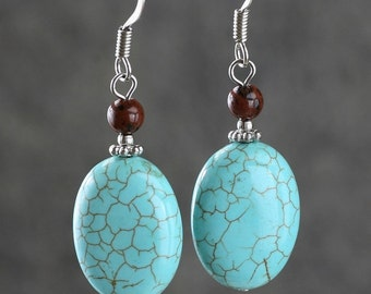 Turquoise Oval drop earrings Bridesmaid gifts Free US Shipping handmade Anni designs