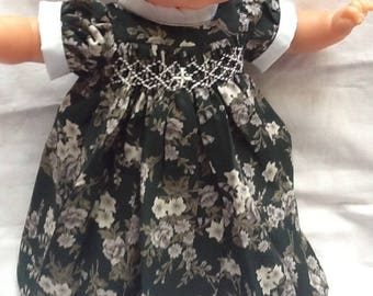 dress has smocked green flowers doll 36 cm
