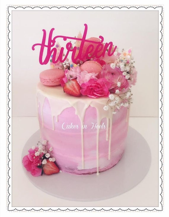 Items Similar To 13th Birthday Cake Topper Reads Thirteen On Etsy