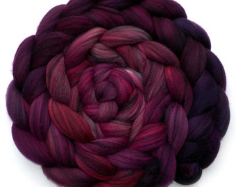 Roving Hand Dyed Merino Silk Swirl Combed Top - Black Cherry, 5.2 oz.