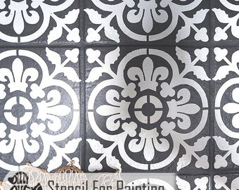 VALENCIA TILE STENCIL - Mediterranean Spanish Moorish Wall Furniture Craft Floor Stencil for Painting - VALE01