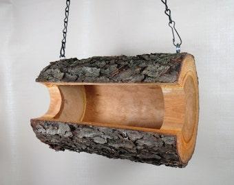 Rustic Bird Feeder, Unique Log Birdfeeder, Hanging Bird Feeder,  Unique Bird feeder, The Original Natural Log Seed Feeder, Upcycled Feeder