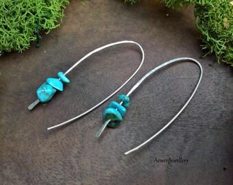 Silver earrings. Sterling silver dangle earrings. Turquoise earrings Turquoise jewellery Minimalist earrings. Zen Jewellery Mothers day gift