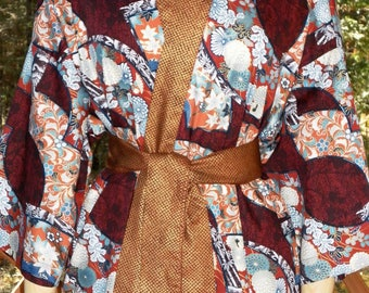 Haori Happi Coat Hip Length Kimono with pockets FANS rust with gold Christmas Birthday Mothers Day Fathers Day