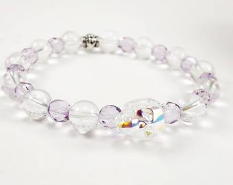 Womens Bracelet - Gothic Bracelet - Stretch Bracelet - Quartz and Purple Gemstone Bracelet - Skull Bracelet  - Gothic Jewelry