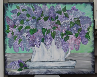 SPRING lilacs, flowers, shabby chic, purple flowers in pitcher