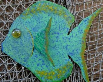 Ocean Fish Decor Metal Wall Sculpture Tropical Sunfish Island beach House Coastal Wall Decor Aqua Green Blue  Sea Life Bathroom Art 7 x 9