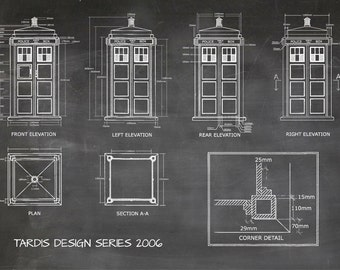 Tardis Print Poster, Dr Who Blueprint, The Tardis Blueprint 2006, Art of The Tardis, Whovian Gift - Police Box Print Art Item 0212