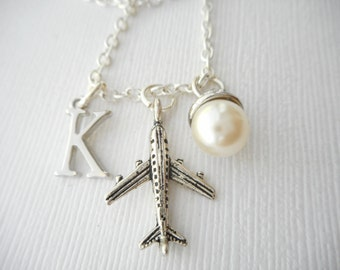 Airplane, Pearl- Initial Necklace/ Airplane jewerly, Fly, Airport, pilot, girl, Flight Attendant, travel, Stewardess, Graduation Gift