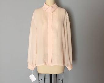 BLUSH PINK sheer blouse | embroidered bib collar blouse | embroidered shoulders pleated poet blouse