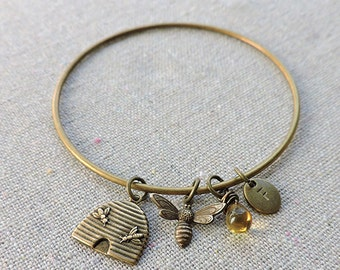 Honey Bee Mine Bangle, Bee Charm Bangle Bracelet, Hand Stamped Initial Monogram Charm, Personalized Gift for Her, Aged Brass or Aged Silver