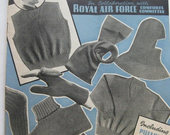 Woollies for the RAF Knitting Booklet - Weldon No. 15 - 1939 1940s Wartime WW2 Pattern PDF