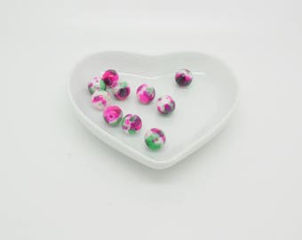 10 dyed howlite beads Pink 8 mm Green and white