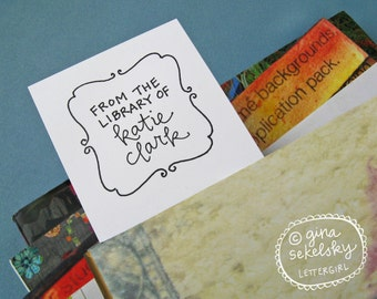 Elizabeth Handwritten Bookplate Stamp: your choice of self-inking or red rubber