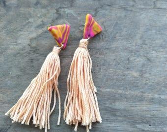 Long Tassel Studs - Purple Yellow Swirls